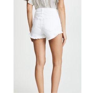 L'Agence Audrey Frayed White Shorts Size 26